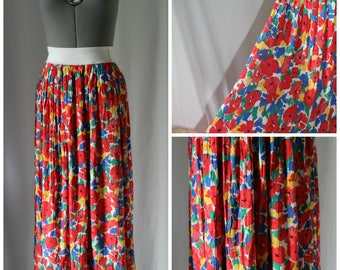 Vintage floral 80s Skirt Women, 80s Skirt, Vintage clothing, Floral print skirt, Floral, Viscose, Small, Medium, 1980s skirt,
