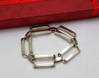 Bracelet link bracelet 835 silver precious rar rectangular links big SA317