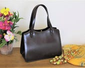 Vintage Brown Leather HandbagST Scottish Handbag1960s Quality Handbag (Ref1958A)