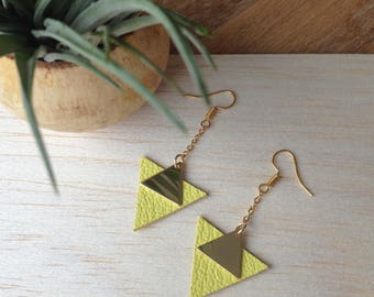 Yellow triangle leather earrings