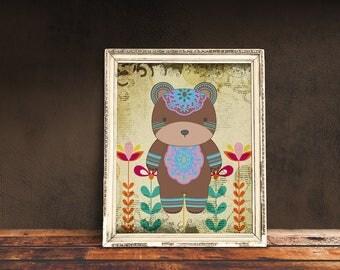 Boho Bear | Bohemian Nursery, Tribal Nursery, Tribal Baby Room, Immediate Download, Printable Poster | Bohemian Animal, Baby Animals