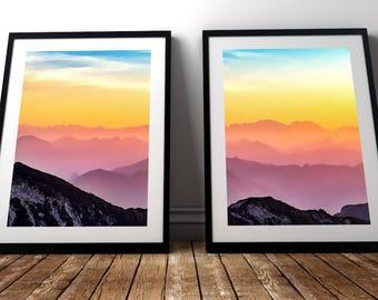 Pink Sunset Print | Sunrise Mountains, Pink Sky Art, Pink Sunset Wall Art, Horizon Wall Art, Watercolor Horizon, Pink Mountain Art
