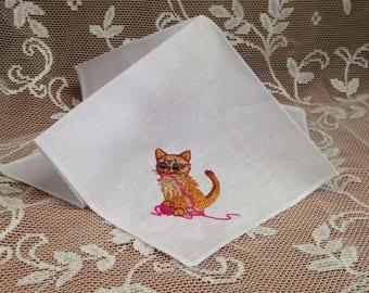 Kitten Handkerchief, White Handkerchief, Cat Hanky, Embroidered Kitty Hanky, Kitty with Yarn Hanky
