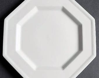 Vintage (c.1980s) Johnson Brothers Heritage White bread-and-butter | tea plate. All-white ironstone with an octagonal shape.