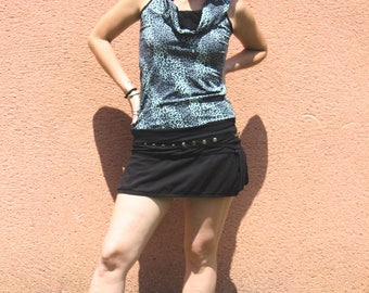 Black Grey Leopard Top with Hood - Lycra - Coton - Tribal - Ethnic - Gypsy - Trance - Rave Party - Teknival - Underground - Industrial