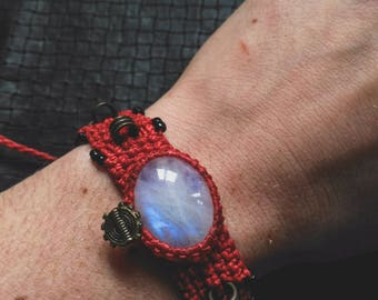 Moonstone Bronze Bracelet - Pixies - Fairy - Tribal - Ethnic - Boho - Gypsy - Gems - Stone - Earth - Moon - Wolf - Design - Adjustable size