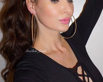 """XL Gold Twisted Hoops. 4.5"""" Gold Hoops. Very Big Hoops. Extra Large Gold Hoops."""