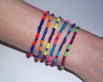 "Neon Friendship Bracelets, Embroidery Bracelets, Kids Bracelets, Party Favors, Birthday Gift, Pool Accessory, Best Friend Gift, 7 1/2"""