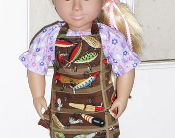 "18"" Doll Size Apron, Fish Print, American Girl Apron, Doll Clothes, Custom made Apron, Fishing Apron, Boy Doll Apron, Matching Child Apron"