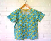 Sale! S, L & XL only Turquoise Banksia Rockabilly Cotton Blouse/ Cotton Smock top/ Boxy Tee/ floral tee/ Cotton shirt/tee shirt/ T-shirt/ Wo
