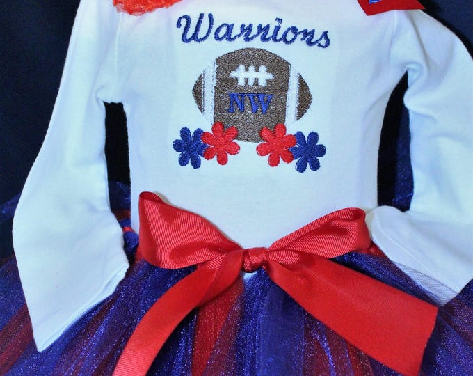 Baby girl team outfit, Cheerleader outfit for baby girls,Football shirt,Football bodysuit,Navy blue tutu, Red,white and blue girl outfit