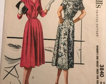Vintage 1956 McCall's Dress Pattern in Two Styles. B37
