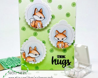 Handmade Watercolor Card - Sending Hugs - Foxes