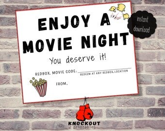 Enjoy a Movie Night Redbox® Gift Tags Printable - Movies Redbox® code Happy Birthday Card - Movie Favor - 4 on page Instant Digital Download
