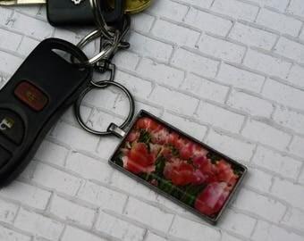 Tulip Keychain Rectangle Keychain Tulips Keychain Flower Keychain Souvenir Keychain Nature Keychain Photo Keychain