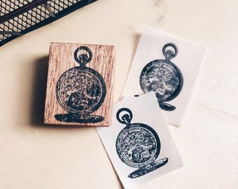 Wood Mounted Red Rubber Stamp - Compass