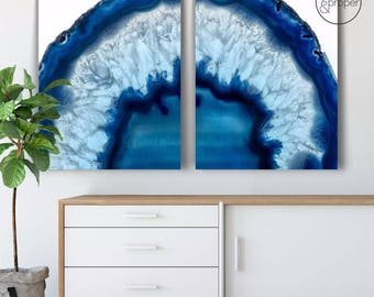 AGATE MINERAL GEMSTONE Geode Blues Whites - 2 x Wall Art Print Poster Canvas - On Trend