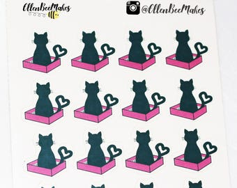 Cat in Litter Tray Stickers