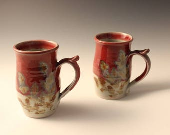 Beautiful Red Ceramic Mug Hand Thrown with Nature Design