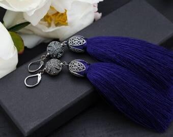 Tassle earrings Long tassel earrings Silk tassel earrings Blue tassel earrings Plump tassel earrings Ink blue earrings Dark tassel earrings