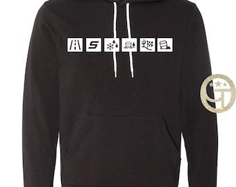 Raptor Black Hoodie- Logo Gen 1, Logo Gen 2, Terrain Modes,  Black Hoodie with white graphic, XS-2XL