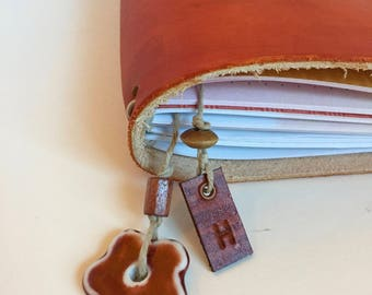 Travelers Notebook Bookmark, Bullet Journal Bookmark, Planner Bookmark, Leather Charm, Porcelain Bead, Planner Accessory, Initial, Bookmark