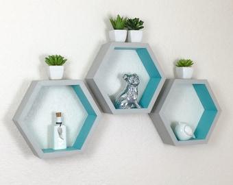 Set of 3 Hexagon Shelves, 2 Tone Shelves, Honeycomb Shelves, Painted Geometric Shelf, Nursery Decor, Display Shelf, Wall Shelf, Dorm Decor