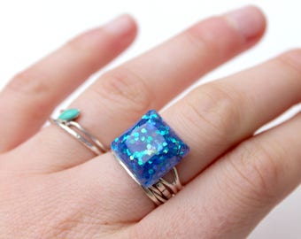 Glitter Galaxy Ring Blue - Square Ring - Resin Ring - Statement Ring - Adjustable Ring - Sparkly Ring - Resin Jewellery