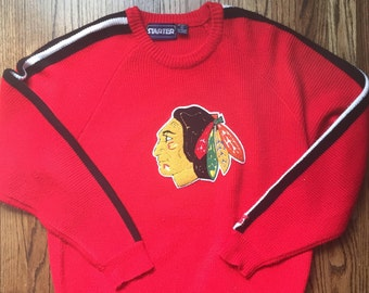 Vintage 90's Starter Chicago Blackhawks Size XL Extra Large Knit Crew Neck Sweater Hockey Red Black Si