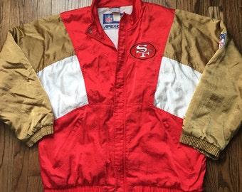 Vintage 90s Apex One San Francisco 49ers Jacket Size Large L NFL Football Coat
