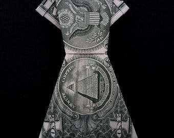 Origami Women Long DRESS Money Art Gift Handmade out of Real One Dollar Bill