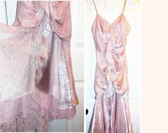 Vintage Dress size 7/8 Metallic Pink Taffeta Special Occasion Evening Wear Women's Clothing