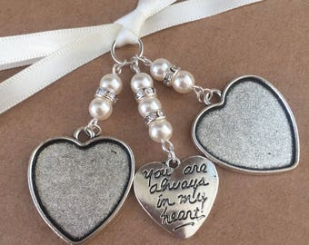 Bridal Bouquet Double Heart Photo Frame Charm Wedding With Heart Swarovski Beads
