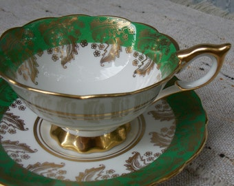 Vintage Royal Stafford Green and Gold with Paisley Leafs Tea Cup and Saucer 1950s