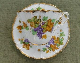 Royal Stafford Oregon Grape Tea Cup and Saucer Vintage