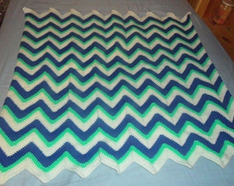 Blue Green and White Crochet Baby Blanket