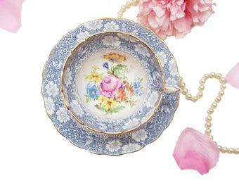 Ornate Vintage Rosina Teacup, Blue Floral Teacup, Bone China, Made in England