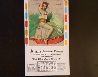 Vintage Seattle pin-up notepad, 1950's Earl Moran pin-up art
