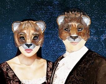 Couples Masks    Golden Lions Paper Mache Masks  Golden Lions Couples Mask Set His and Hers Masquerade Gold masks