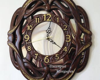Wall clock, wooden, with mirror glass, beautiful, original, carved, luxury
