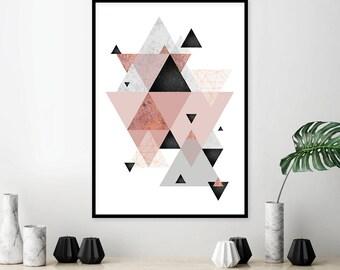 Downloadable Scandinavian geometric print Minimalist poster Affiche scandinave blush pink grey Printable digital wall art decor Trending now
