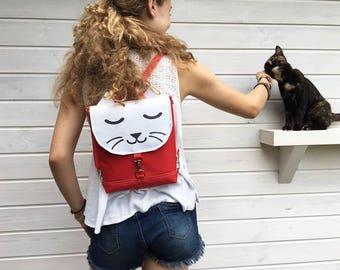Xtra Mini Waterproof Backpack, Vegan Cat Rucksack, Waterproof Backpack, Mini Crossbody Bag, Toddler Backpack, Festival Bag, Red and White