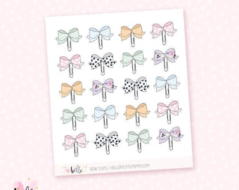 Bow paper clip stickers - 20 cute, hand-drawn planner stickers