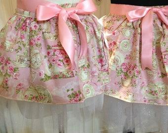 Tutu for Tea mother daughter aprons pink tea cup pink silver sparkle tulle ballerina tutu pink satin ties tutu set ricrac pocket