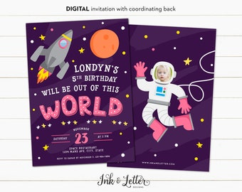 Astronaut Birthday Invitation - Outer Space Party Invitations - Space Birthday Party - Girl Birthday Invitations - Digital Photo Invitation