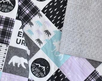 Lavender and aqua Moose Adventure quilt, minky quilt, woodland nursery, girl nursery, adventure, purple , aqua, charcoal, bear, moose
