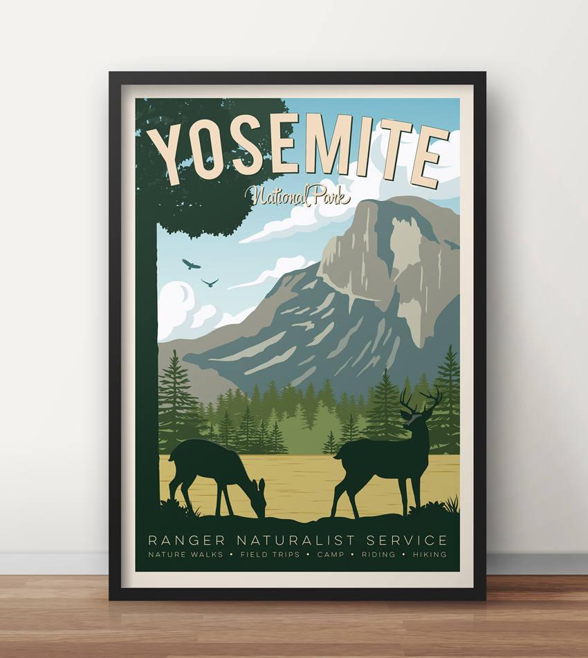 Vintage Voyage Yosemite Yosemite Poster Travel Poster