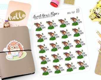 Pay Day Planner Stickers - Work Planner Stickers - Money Planner Stickers - Character Stickers - Planner Stickers - 022