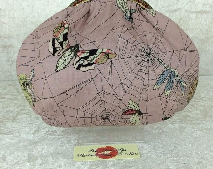 The Ghastlie Web Alice Gothic frame bag Alexander Henry design Pin Up Mirage fabric bag purse handbag clutch handmade in England