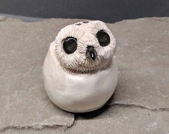 Owl Sculpture, Snowy Owl Sculpture, Baby Owl Chick, Owl Hatching Sculpture, White Owl Sculpture, Owl Art, Owl Figurine, Snowy Owl Art, Owls